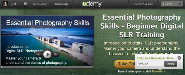 Udemy learning platform - Brent Mail Photography