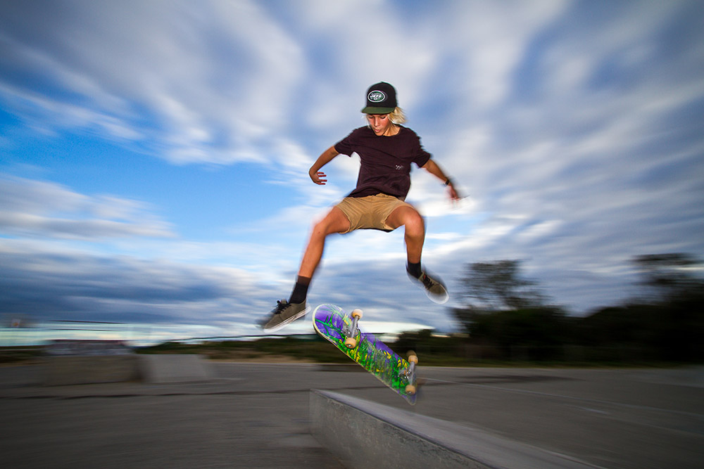 Using a flash (strobe) as well as slower shutter speed makes for a very interesting action shot
